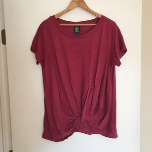 Bobeau Burgundy Knot Front Knit T-Shirt